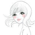 Asian woman illustration stylized line art of a beautiful with short hair and sweet face Royalty Free Stock Photos