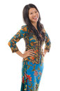 Asian woman in kebaya usually worn by indonesia malaysia brunei burma singapore southern thailand Royalty Free Stock Image