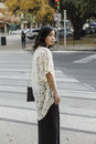 Asian woman in lifestyle locations walking on the street Stock Photography