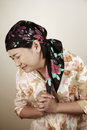 Asian woman looking stressed Stock Photo