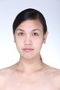 Asian Woman before make up hair style. no retouch, fresh face wi Royalty Free Stock Photo