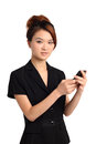 Asian woman with mobile attractive young telephone white background Royalty Free Stock Image
