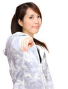 Asian woman point to you Royalty Free Stock Photo