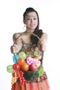 Asian woman portable fruit basket happy a Stock Photography