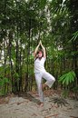 Asian Woman practising Yoga in Woods Stock Photo