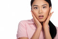 Asian woman reacting in shock Royalty Free Stock Images