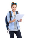 Asian woman read on the itinerary Royalty Free Stock Photo