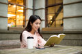 Asian Woman reading book Royalty Free Stock Photo