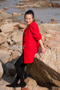 Asian woman in red coat Royalty Free Stock Photo