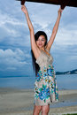 Asian woman relaxing on the outdoor Royalty Free Stock Images