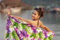 Asian woman with sarong Royalty Free Stock Photography