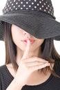 Asian woman saying hush be quiet Royalty Free Stock Photo