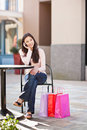 Asian woman shopping Stock Images