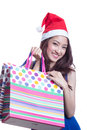 Asian woman and shopping bag young trendy girl holding up Stock Image