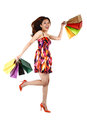 Asian woman with shopping bags on a white background Stock Images