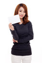 Asian woman showing empty card Stock Photos