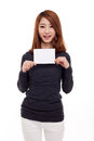 Asian woman showing empty card Royalty Free Stock Images