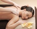 Asian woman in spa health and beauty resort and relaxation concept salon getting massage Royalty Free Stock Photos