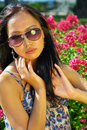 Asian woman with sunglasses Stock Images
