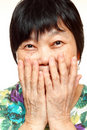 Asian woman use hand cover her mouth Royalty Free Stock Photography