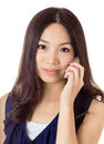 Asian woman using mobile phone isolated on white background Royalty Free Stock Photos