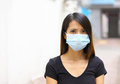 Asian woman wear protective face mask Stock Image