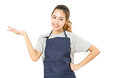 Asian Woman Wearing Apron And Singing With Open Palm Hand. Royalty Free Stock Photo