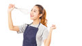 Asian Woman Wearing Apron And Singing With Whisk. Royalty Free Stock Photo