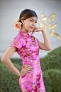 Asian woman wearing a cheongsam chinese costumes Stock Photo
