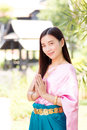 Asian woman wearing traditional thai culture,vintage style,Thail Royalty Free Stock Photo