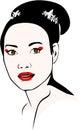 Asian woman who wears a bun and geisha makeup