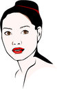 Asian woman who wears a bun with red lipstick