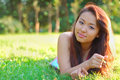 Asian womanl in a field Royalty Free Stock Images