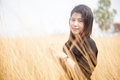 Asian women black shirt standing in a meadow woman hot dry arid grassland Stock Images