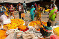 Asian women choose the flowers on crowded Flower Market Royalty Free Stock Image