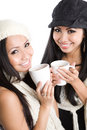 Asian women drinking coffee Royalty Free Stock Photos