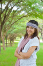 Asian women at the park portrait young woman Royalty Free Stock Photos