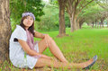 Asian women at the park portrait young woman Stock Photography