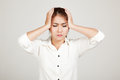 Asian young girl got headache Royalty Free Stock Photo