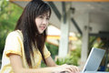 Asian young girl use laptop for search information in the garden Stock Images