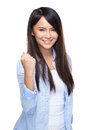 Asian young woman cheer up gesture isolated on white Royalty Free Stock Image