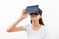 Asian young woman using virtual reality headset