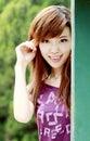 Asiatisches Mädchen draußen Lizenzfreie Stockbilder