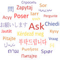 Ask in different languages tag cloud vector illustration Stock Image