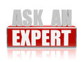 Ask an expert in d letters and block text red white business consult concept words Stock Image