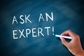 Ask an expert written in chalk on a chalkboard Royalty Free Stock Photo