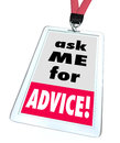 Ask me for advice badge help assistance customer support service words on a or name tag worn by a worker or employee at a store or Stock Photos