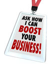 Ask me how i can boost your business badge the words on a to advertise a service to improve company s profitability revenue Stock Photo