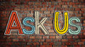 Ask us concepts on background Royalty Free Stock Photo