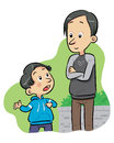 Asking question a boy ask to his father some questions vector eps file Stock Photo
